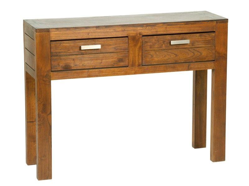 Mesa recibidor de madera de mindi 2 cajones ohio - Mesa de recibidor ...