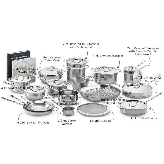 All Clad Copper Core Ultimate 33 Piece Cookware Set Williamssonoma Cookware Set All Clad Cookware