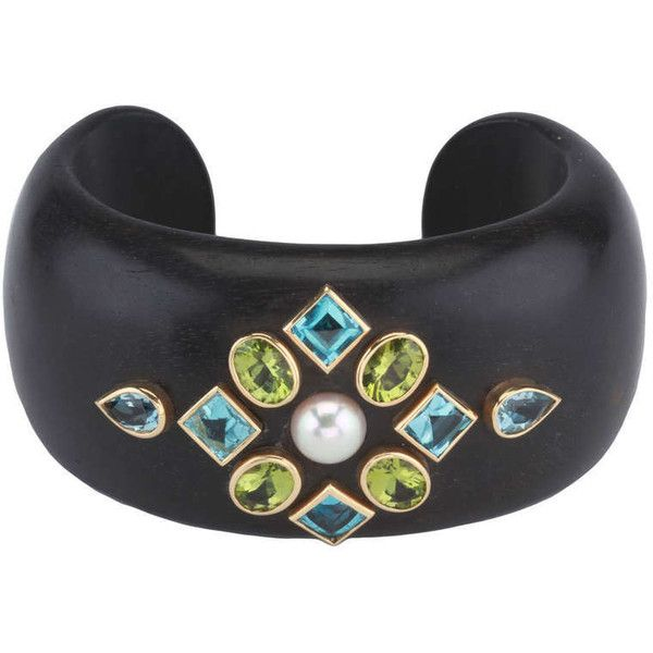 Pre-owned Peridot Blue Topaz Pearl Wood Cuff Bracelet ($3,500) ❤ liked on Polyvore