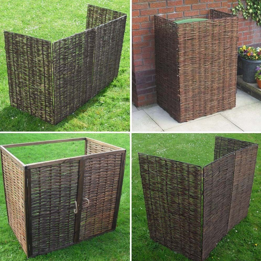 Wheelie bin screens willow and wooden framed single for Wooden garden screen designs