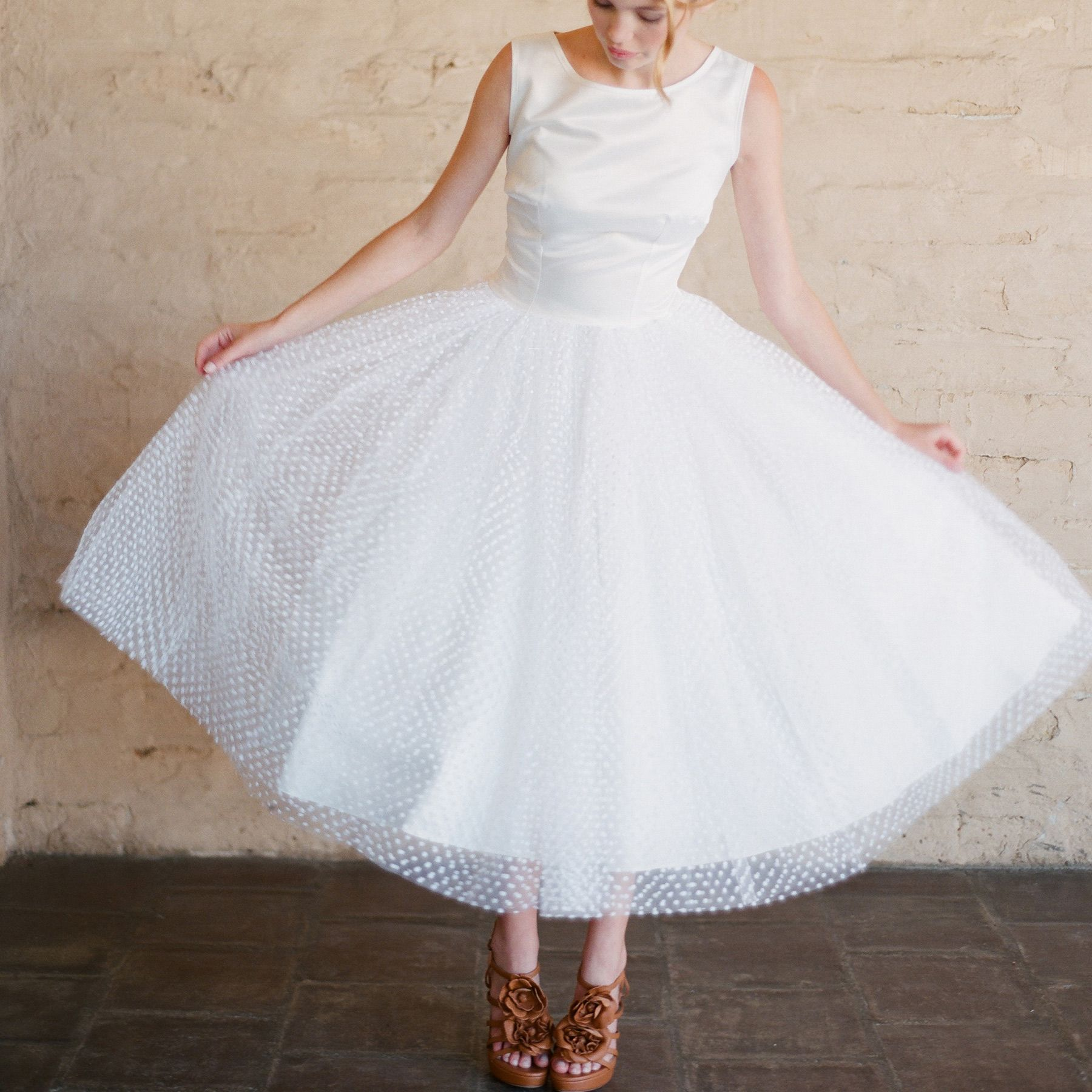 Daryl gown polka dot tulle wedding dress style pinterest tea