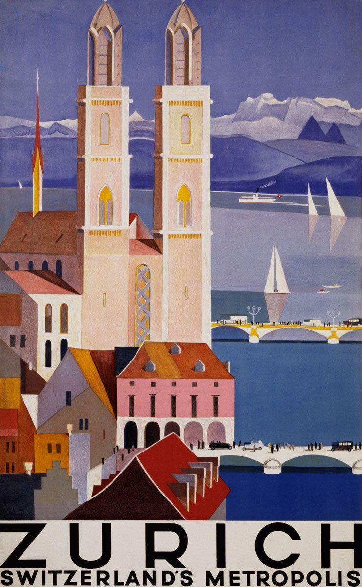 Zúrich -Foto: Corbis — 'Zúrich, la metrópolis de Suiza'... y tanto, el póster de 1928 parece salido de la película de Fritz Lang que se estrenó un año antes vía www.traveler.es
