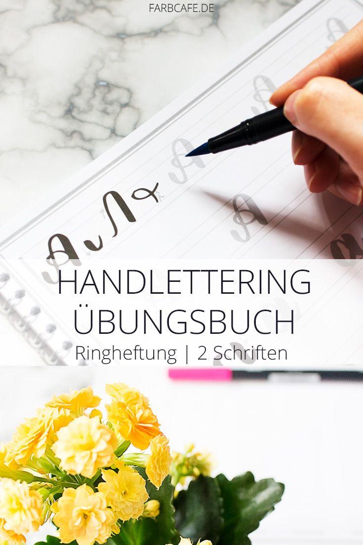Endlich Lettering lernen? Ganz leicht, Handlettering mit dem Übungsbuch lernen. Endlich eine deutsche Anleitung zum rein-malen.
