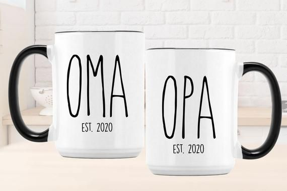 New Oma, Opa Mug Set l Custom New Korean Grandparents Gift l Promoted to Coffee Cup l Custom Name wi