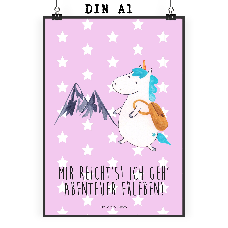 Poster DIN A1 Einhorn Bergsteiger aus Papier 160 Gramm  weiß - Das Original von Mr. & Mrs. Panda.  Jedes wunderschöne Poster aus dem Hause Mr. & Mrs. Panda ist mit Liebe handgezeichnet und entworfen. Wir liefern es sicher und schnell im Format DIN A2 zu dir nach Hause. Das Format ist 549 x 841 mm    Über unser Motiv Einhorn Bergsteiger  Das Bergsteiger-Einhorn ist das perfekte Geschenk für alle abenteuerlustigen und verträumten Menschen. Als Geschenk kurz vor dem anstehenden Urlaub oder als…