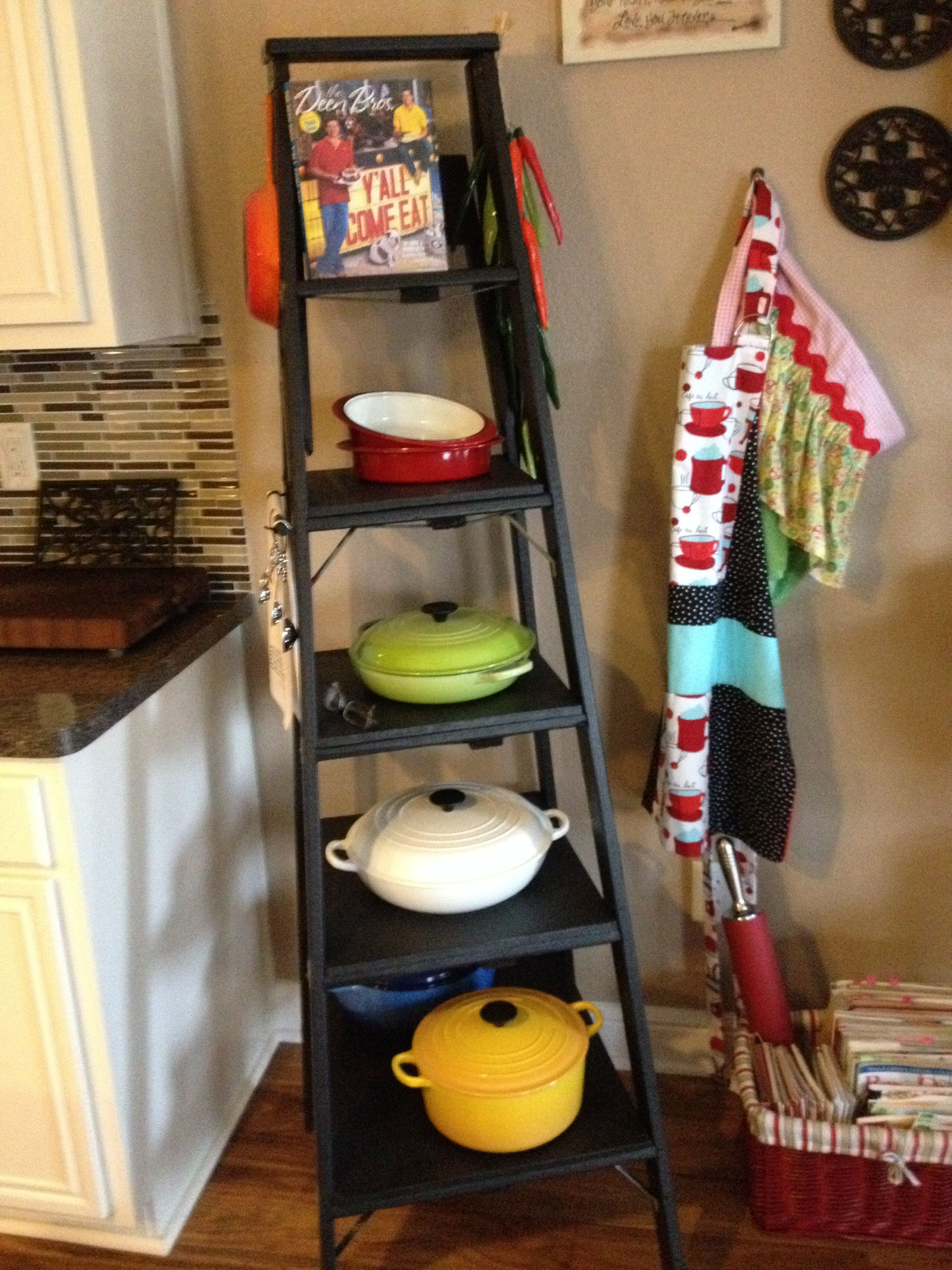 Le Creuset Pans Displayed On Repurposed Latter Great Storage Solution Easy Access