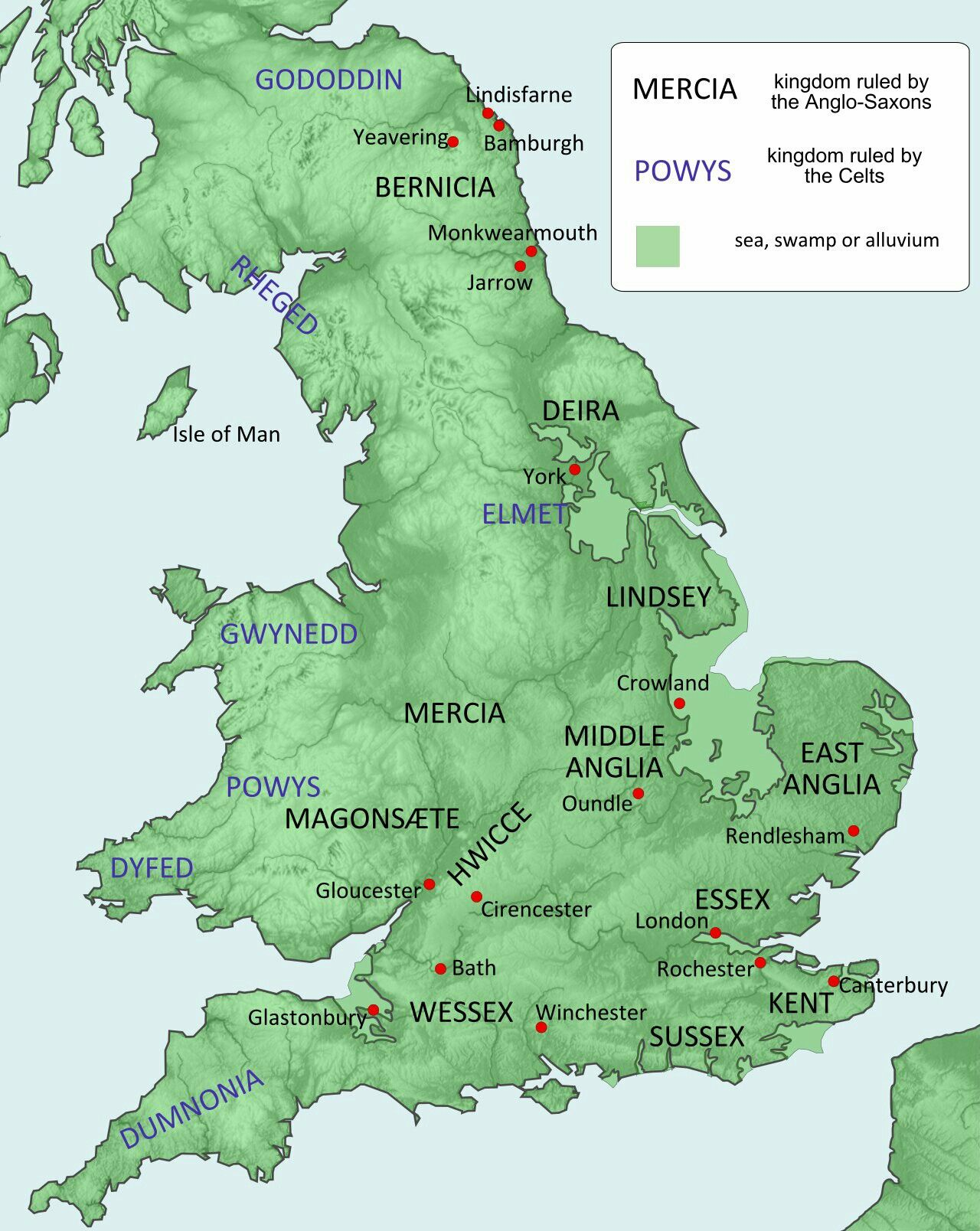 Map Of Some Of The English Kingdoms Circa 600 Ad