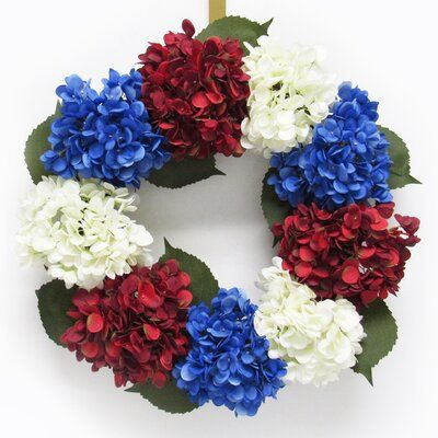 Photo of August Grove Hydrangea Flower 20″ Fabric Wreath Wreath Color: Red/Blue