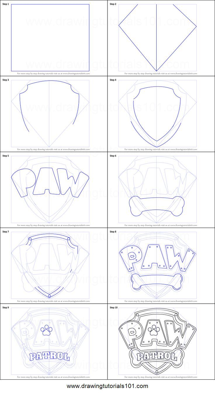 How to Draw Paw Patrol Badge Printable Drawing Sheet by http