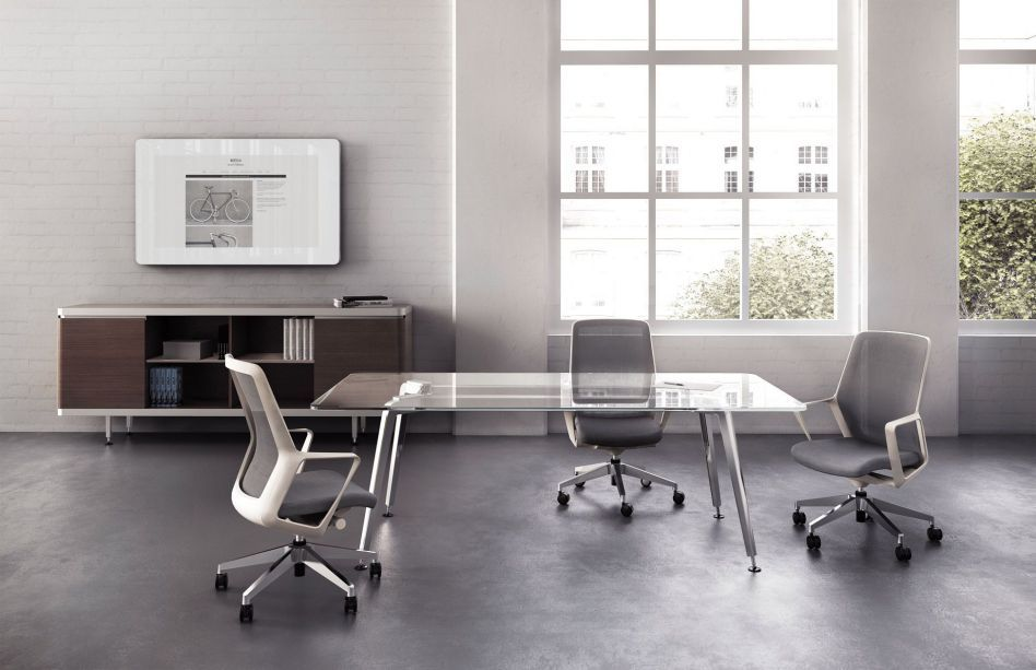 Contemporary Glass Boardroom Table With Chairs Office Chair - Glass boardroom table