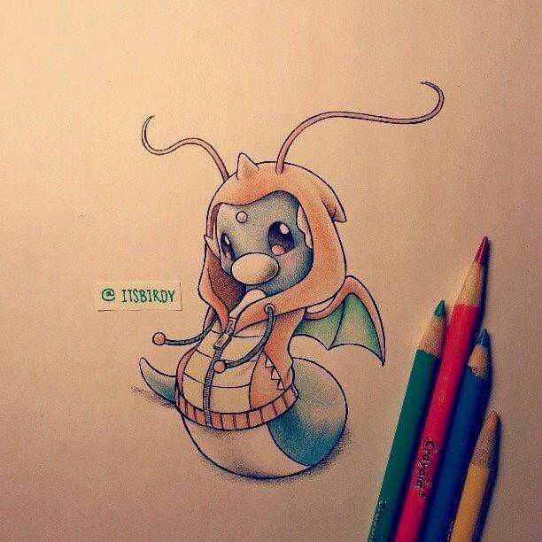Dratini--> Dragonite | Pokemon wearing hoodies of their evolved forms | Credit: itsbirdy
