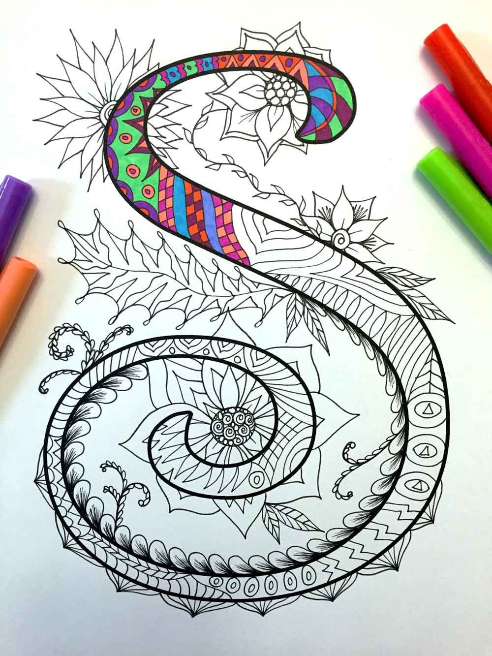 Letter S Zentangle Inspired by the font Harrington por DJPenscript ...