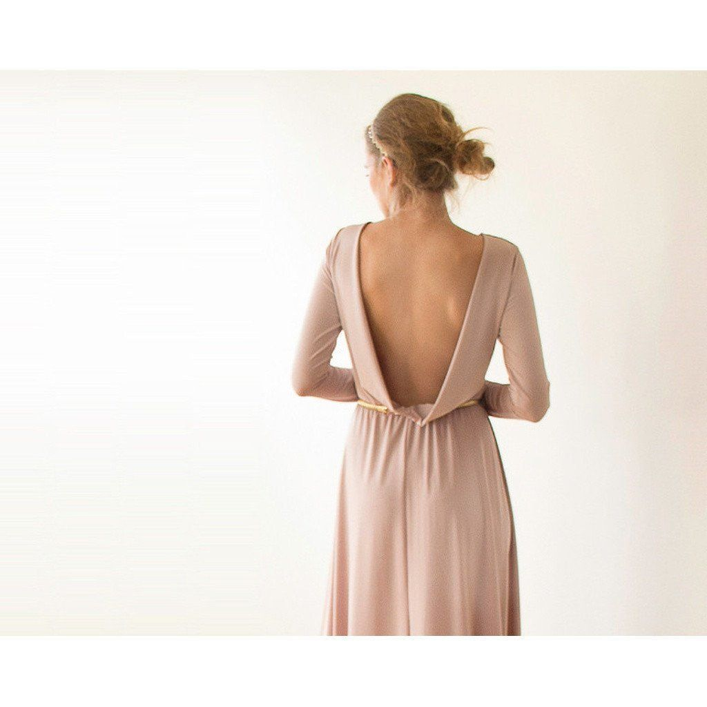 Open back goldchampgne mini dress with long sleeves taupe blush