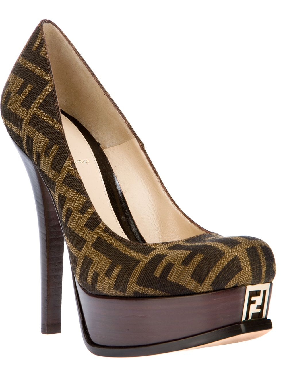aa2d63fb65b Tobacco brown cotton pumps from Fendi featuring a round toe