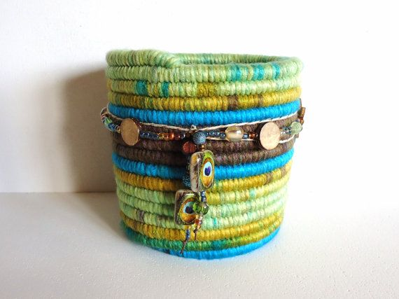 Yarn Coiled Pencil Holder, Colorful Basket with Glass and Wood Beads, Peacock