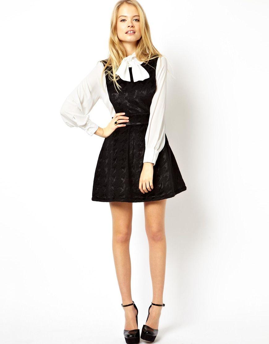 ASOS Premium Dolly Dungaree Skater Dress In Bonded Velvet  #velvet #skater #dress #mary #janes #heels