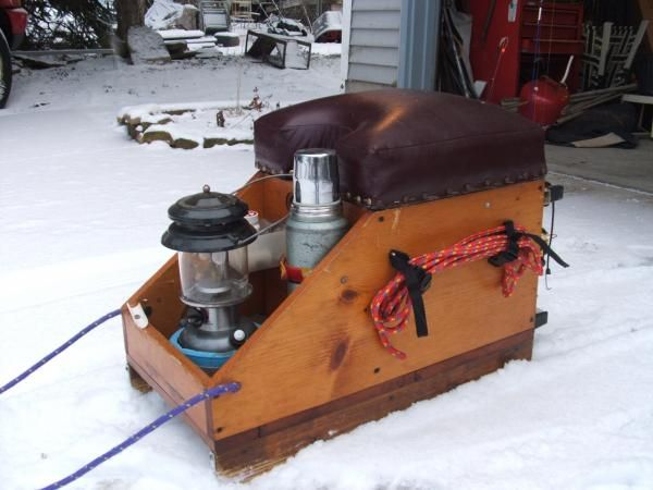 Home made original ice fishing box sled altered for Ice fishing tackle box