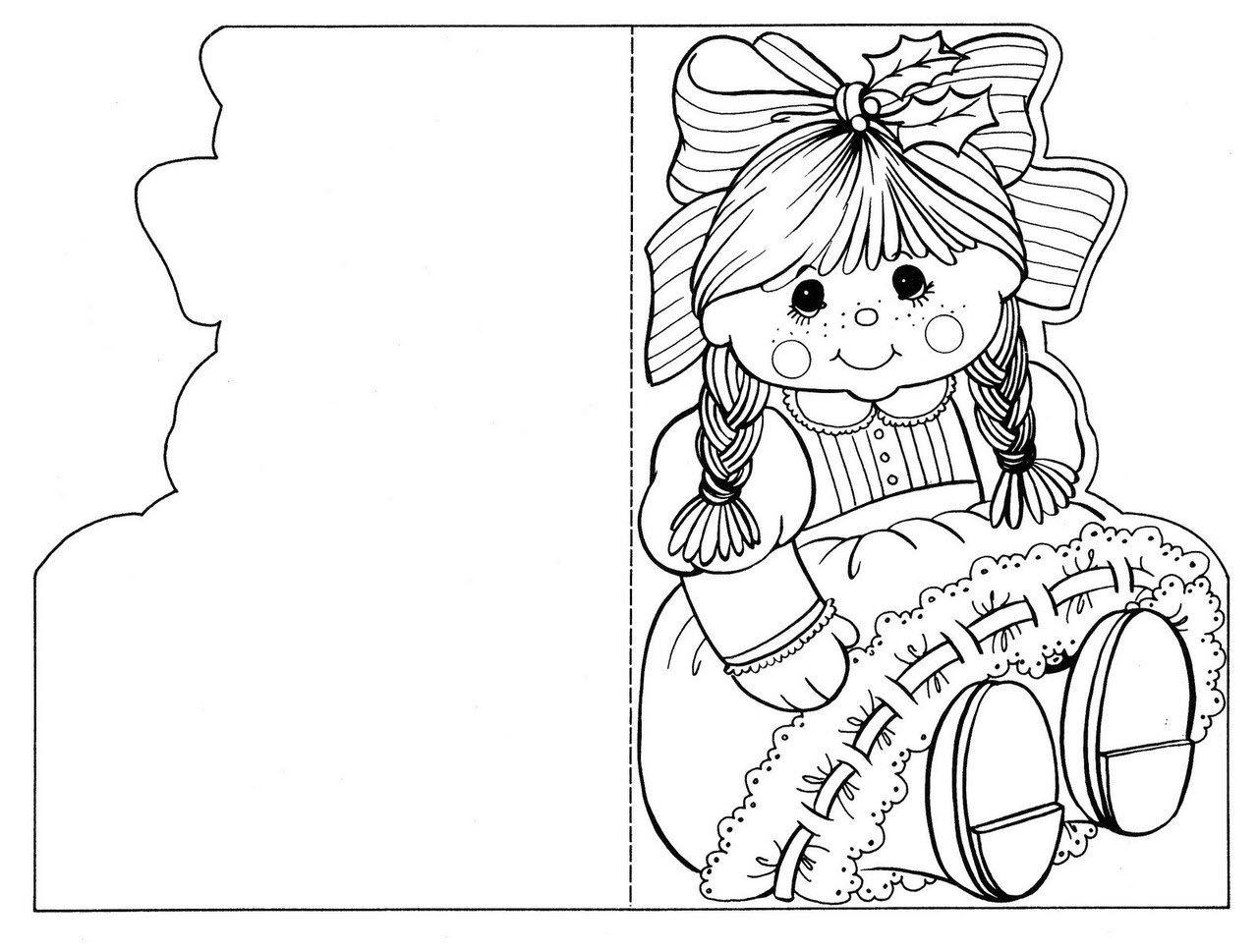 Раскраска открытка для девочки