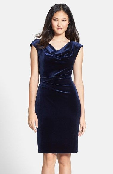 475c4390 Free shipping and returns on Vince Camuto Drape Neck Ruched Velvet Sheath  Dress at Nordstrom.