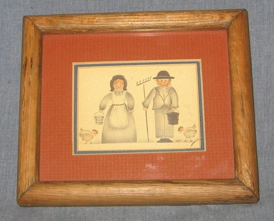 Small Framed Art Country Farmer Man Woman Chickens Signed Mimi ...