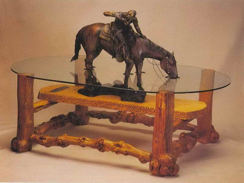 Western Home Decor: Unique Western Cowboy Coffee Table. Trail Riding And  Stopping For A