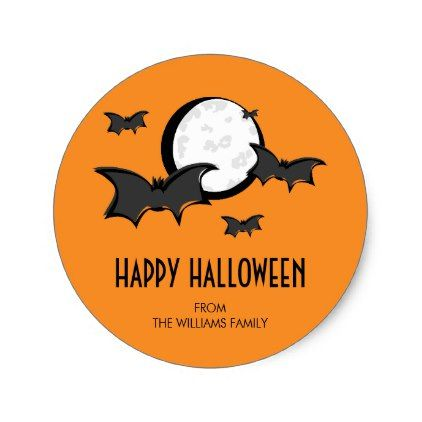 Bats and Moon Halloween Round Sticker Orange - craft supplies diy - halloween design
