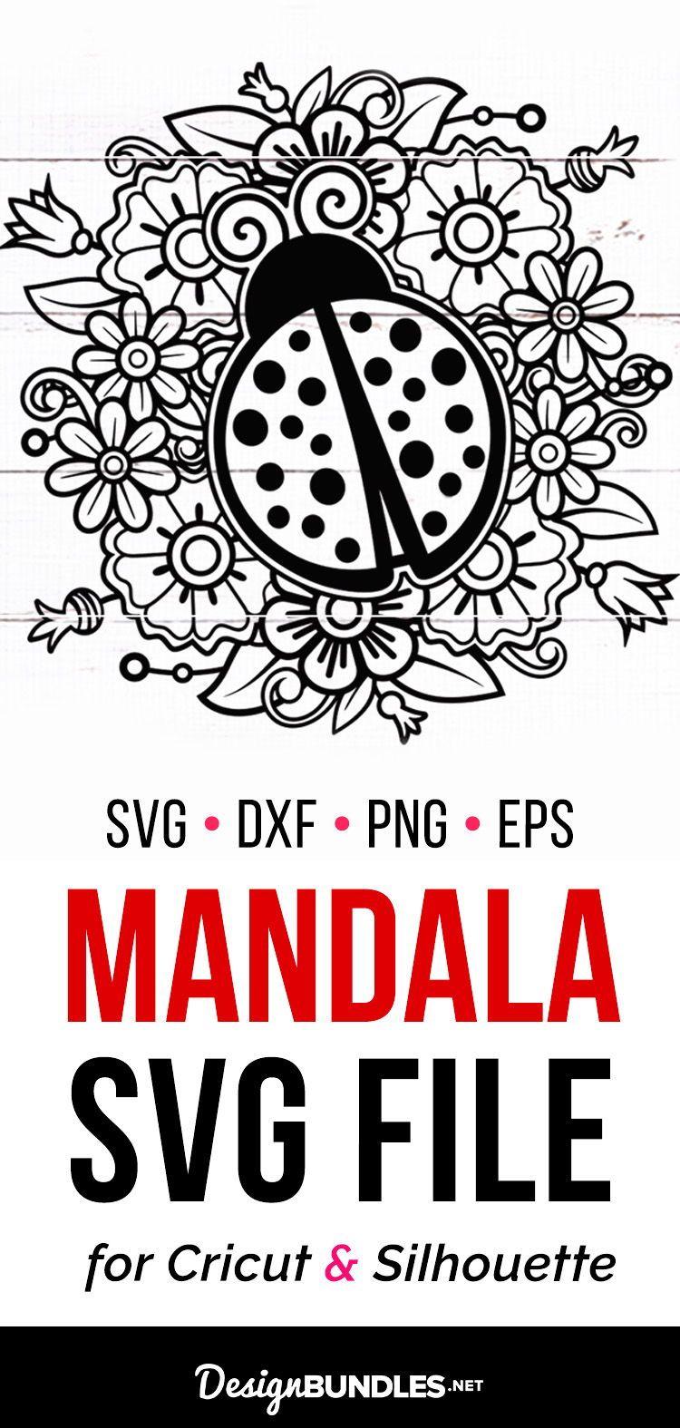 Ladybug Mandala SVG Cut File for Silhouette Cricut