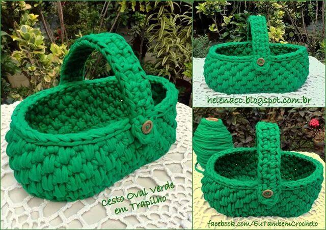 """Cesto creado por """"Crochet em Trapilhos: Eu também crocheto"""""""