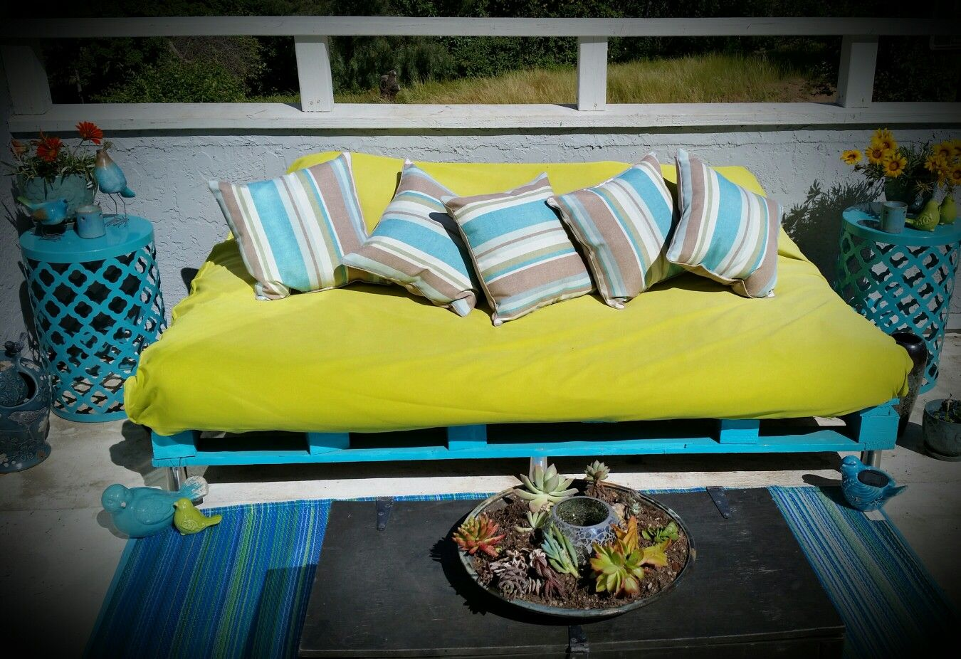 Pallet patio seating for my balcony. One pallet, legs from