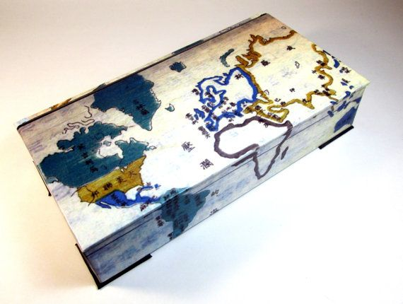 Decorative map box world map japanese tokugawa era vintage look box map of world gumiabroncs Image collections