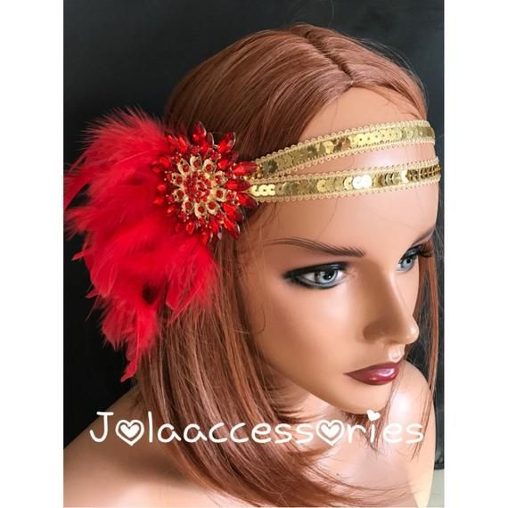 Red gold Great Gatsby 1920s headband Tiara Art Deco headpiece wedding bridal headband Great Gatsby f #flapperhair
