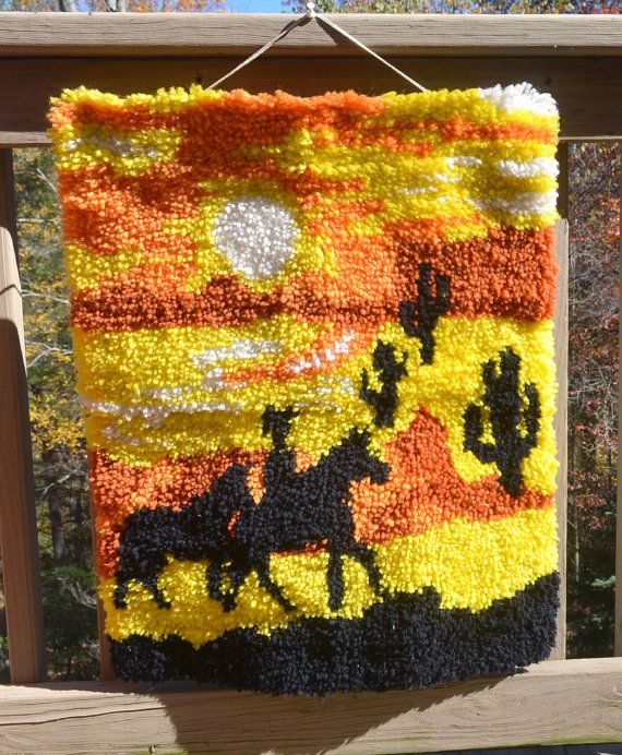 vintage 70s latch hook COWBOY desert sunset rug wall hanging ...