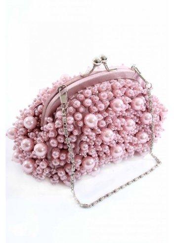 ** Taštička z růžových perliček **