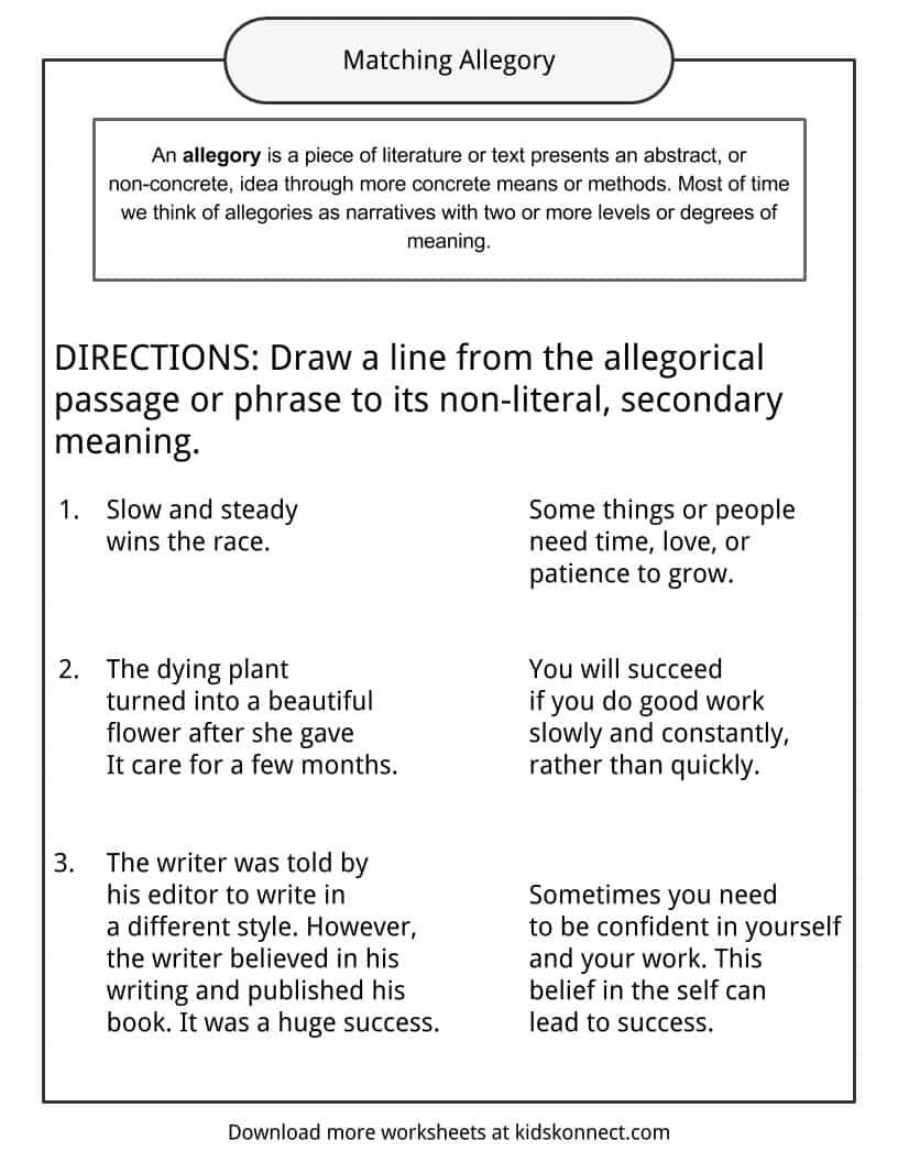 Allegory Examples Definition And Worksheets Kidskonnect Language Worksheets Telling Time Worksheets Consonant Blends Worksheets [ 1056 x 816 Pixel ]