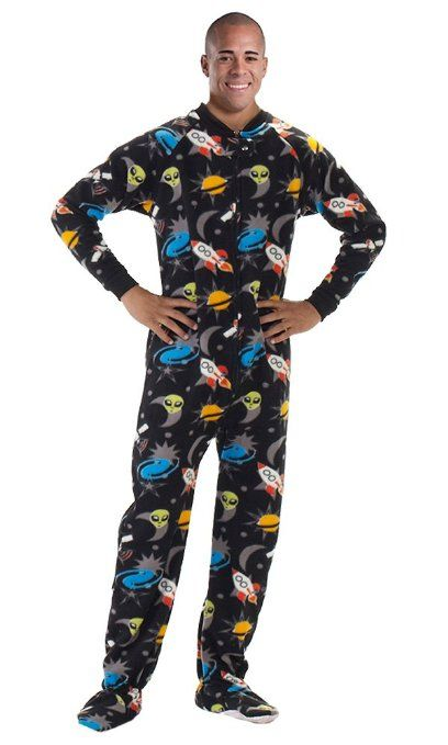 9936317d70 Amazon.com  Footed Pajamas Off in Space Adult Fleece  Clothing ...