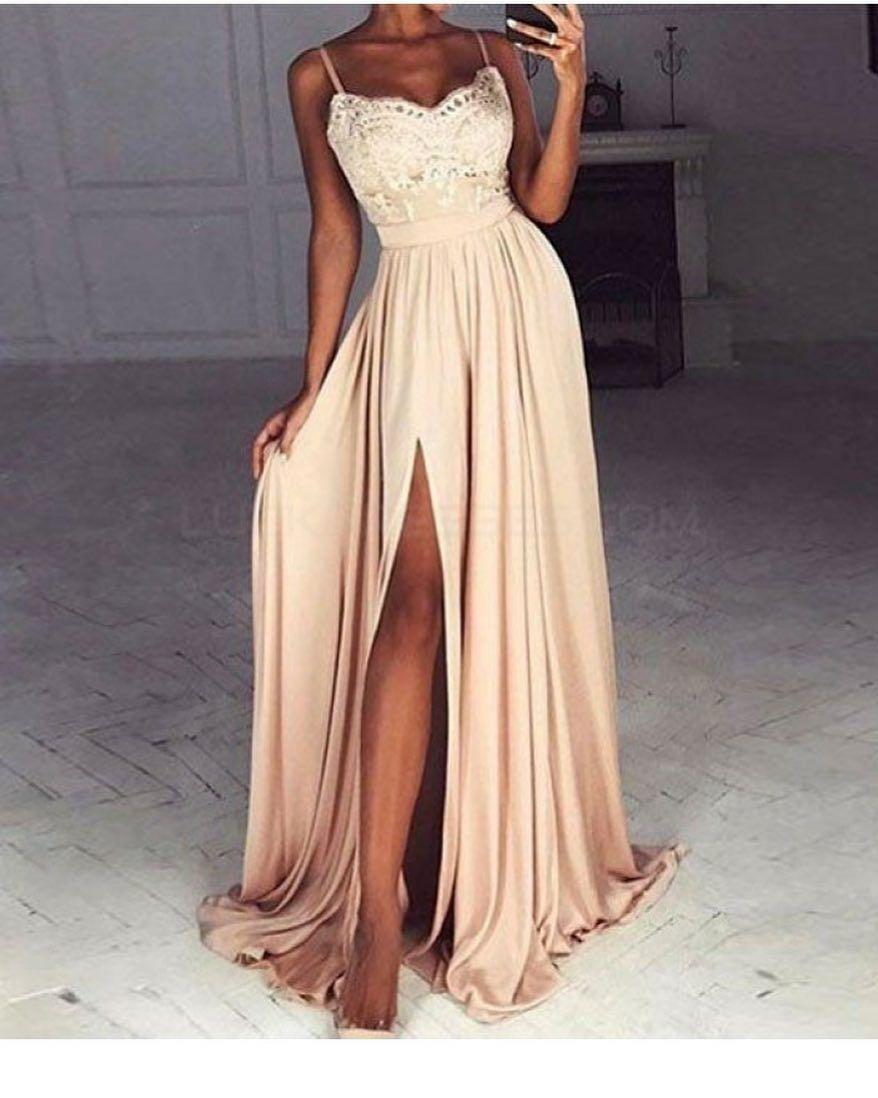 Spaghetti straps simple popular lace top side split prom dresses