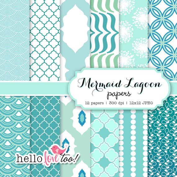 INSTANT DOWNLOAD Mermaid Lagoon digital paper set by hellolovetoo, $5.00