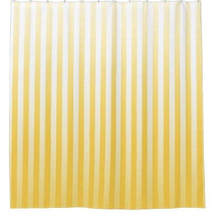 Sunflower Yellow White Stripes Shower Curtain