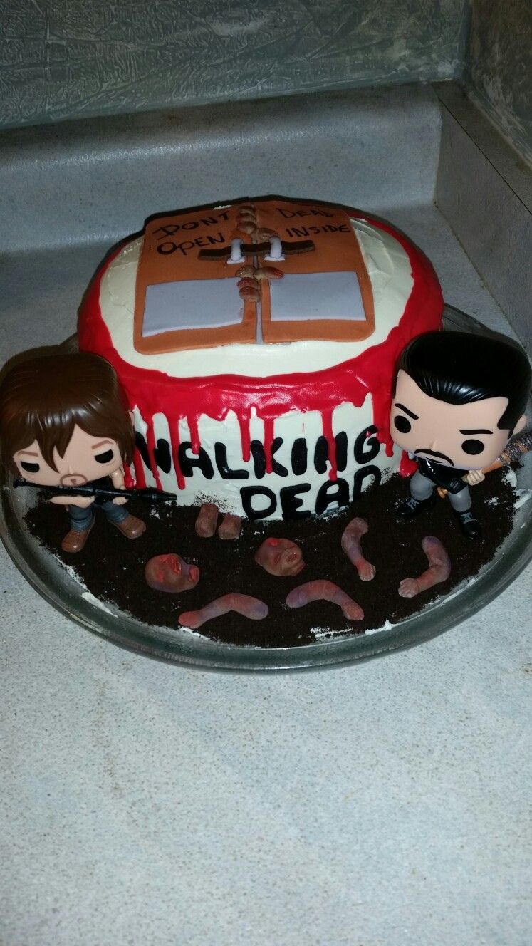 Walking Dead Theme Cake With Buttercream Icing Fondant Decorations