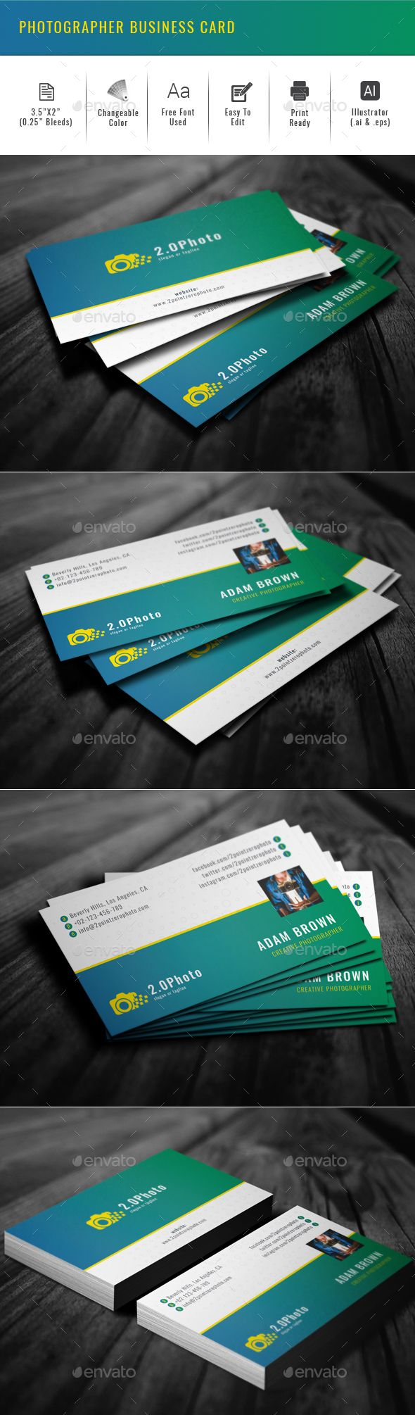Photographer business card photographer business card template vector eps ai illustrator reheart Image collections