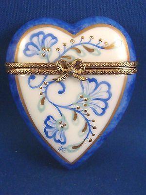 Blue Floral Heart Authentic Limoges Box. | Limoges Boxes Classic ...