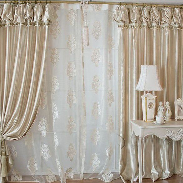 High End Fashionable Champagne Gold Satin Living Room Curtain Two Panels Buy