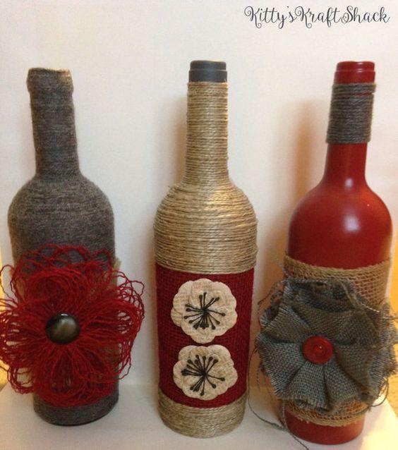 Decora botellas con hilo r stico y yute bottle wine - Manualidades con hilo ...