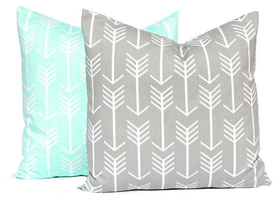 sale mint green and gray pillow covers grey pillow throw pillow cover two decorative throw pillow covers mint gray nursery mint grey mint - Toss Pillows