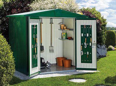 Caseta prefabricada biohort para jard n jardiner a for Casetas de jardin con porche