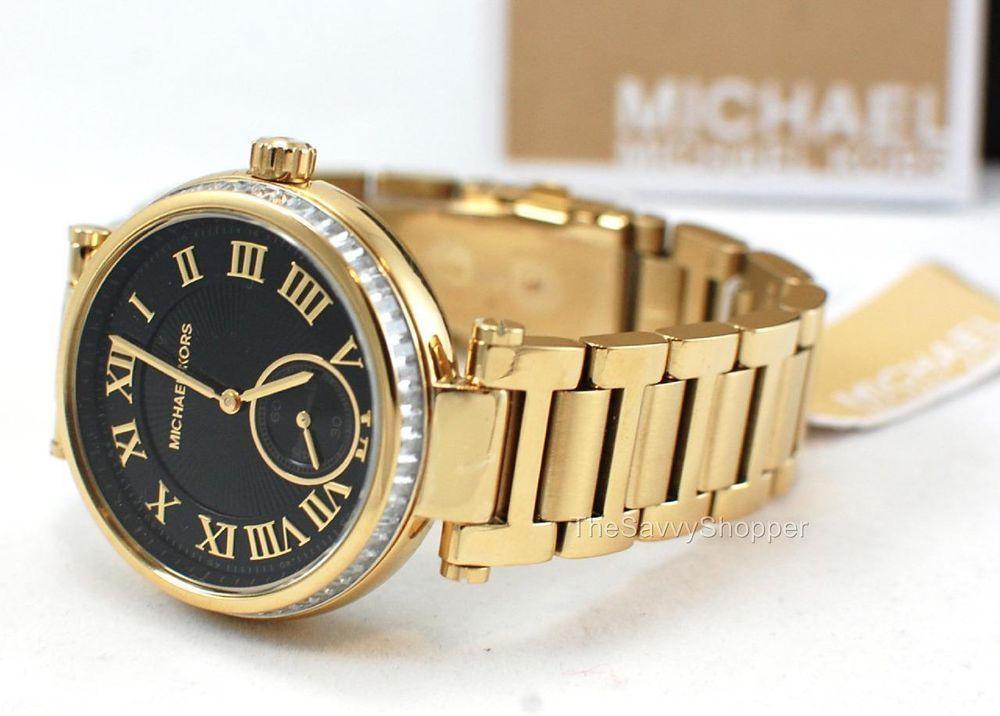 34a7ec916ef9  275 New MICHAEL KORS Skylar Gold Band Black Face Crystal GLITZ Watch MK5989   MichaelKors  Fashion
