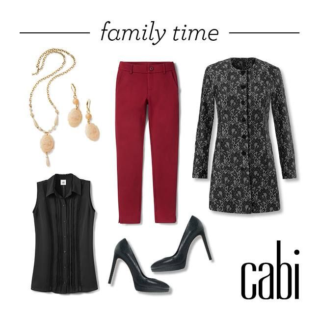 We're lookig forward to spending time with family this holiday season in our Ava Trouser in rhubarb, Jagger Blouse, and Lacy Coat!