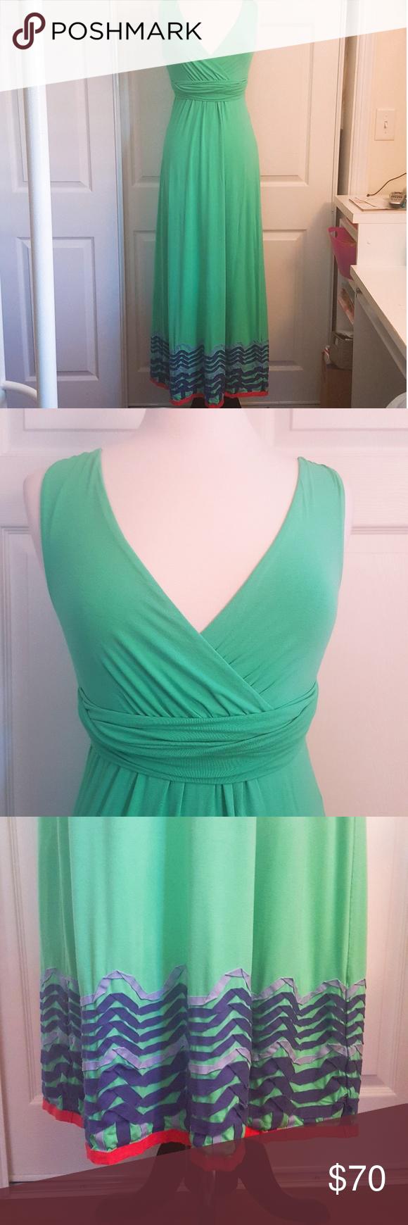 Boden Green Maxi Dress w/ Chevron Design Size 2R   Green maxi ...
