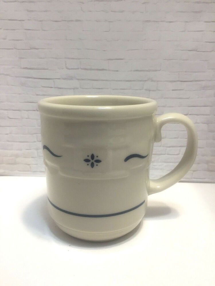 """LONGABERGER POTTERY WOVEN TRADITIONS CLASSIC BLUE COFFEE TEA 3/"""" CUP /& SAUCER SET"""