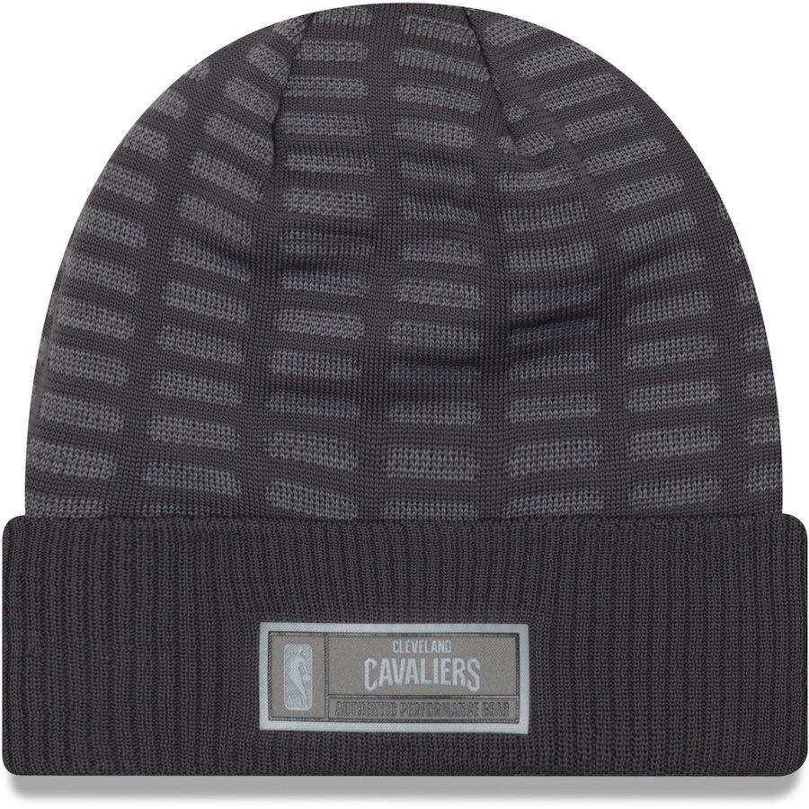 910834d845d Men s Cleveland Cavaliers New Era Graphite Authentic Training Cuffed Knit  Hat